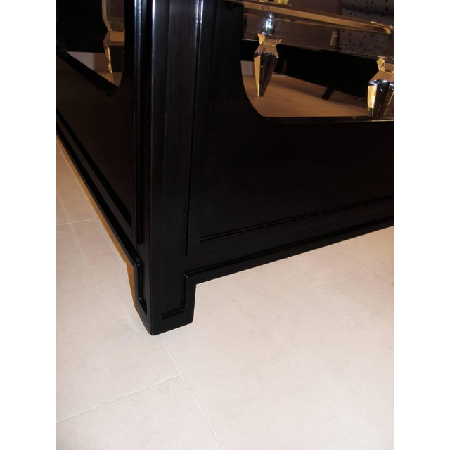 Mid-Century Modern Tommi Parzinger Originals Ebonized Mahogany Queen Size Bed For Sale - Image 3 of 3
