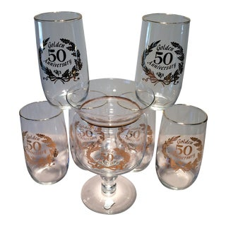 """""""Golden 50 Anniversary"""" Mid-Century Glasses & Footed Bowl - Set of 7 For Sale"""