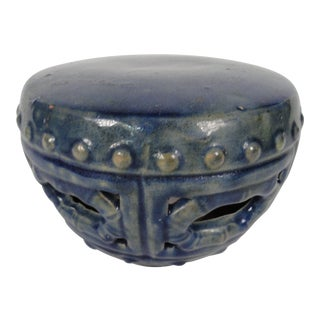 19th Century Blue Ceramic Glaze Garden Seat For Sale