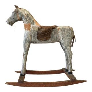 Swedish Antique Painted Wood Rocking Horse