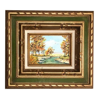 Giltwood Framed Stream Oil Painting For Sale