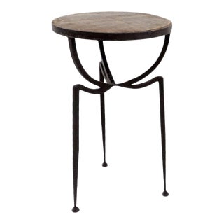 Wood & Iron Stool For Sale