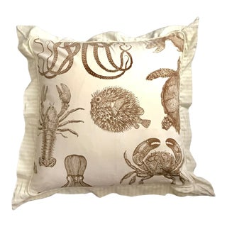 Nautical Square Custom Cotton Cream and Brown Sealife Pillow With Feather Insert For Sale