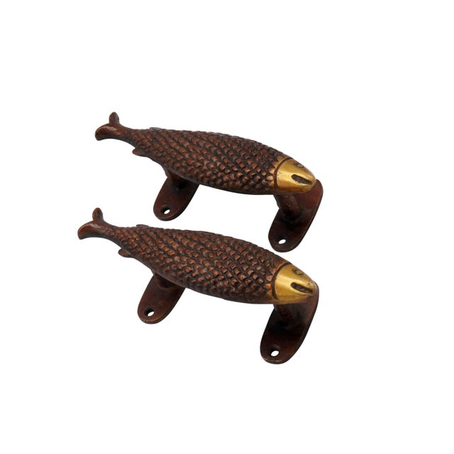 Hollywood Regency Red Brass Fish Door Handles - a Pair For Sale - Image 3 of 4