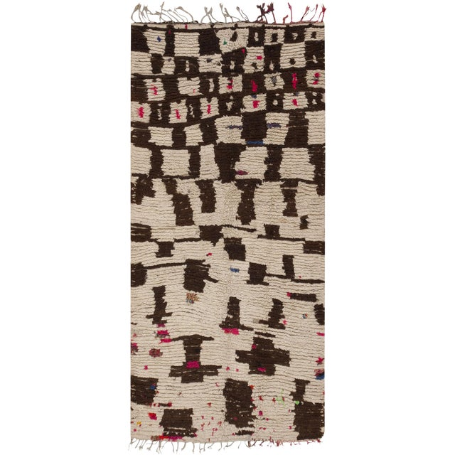 Vintage Mid-Century Modern Moroccan Rug - 4′ × 9′ For Sale