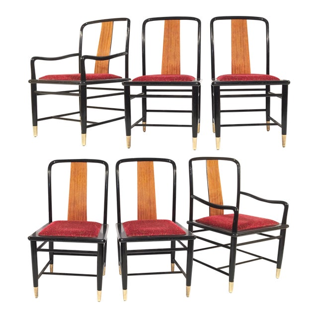 Henredon Elan Koa Wood Asian Chinoiserie Chairs - Set of 6 For Sale