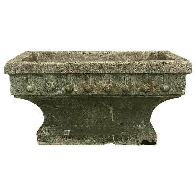 Stone Rectangular Cast Stone Planter For Sale - Image 7 of 7