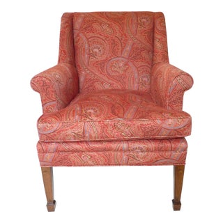 Late 20th Century Vintage Paisley Upholstered English Armchair For Sale