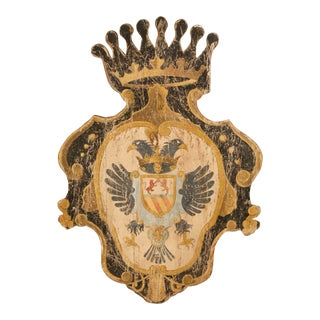 Early 20th Century French Carved Painted Wall Hanging Shield With Crown For Sale