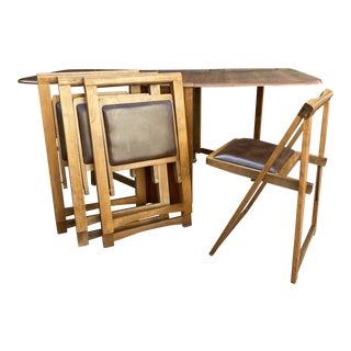 Mid Century Solid Wood Romanian Folding Dining Set - 5 Pieces For Sale