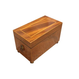 English Mahogany Tea Caddy For Sale