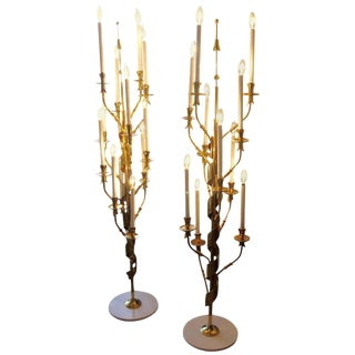 Stilnovo Brass With Marble Bases Candelabra Floor Lamps - a Pair For Sale