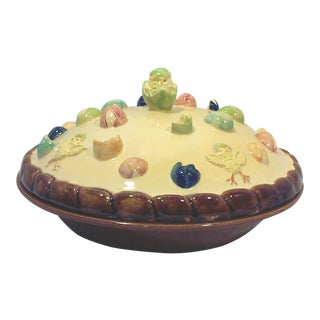Vintage Ceramic Easter Chick and Egg covered Pie Plate For Sale