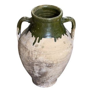 Antique French Vessel With Olive Green Accents For Sale