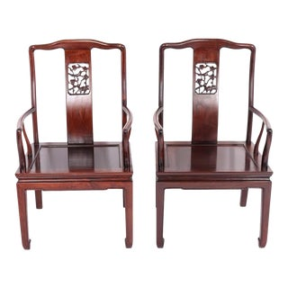 Chinese Huanghuali Hardwood Armchairs- a Pair For Sale