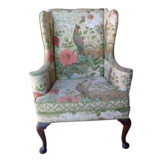 Vintage Mid-Century Parrots & Floral Patterned Wingback Chair For Sale