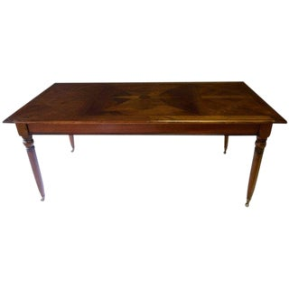 Early 20th Century Antique French Wild Cherry Parquetry Top Dining Table For Sale