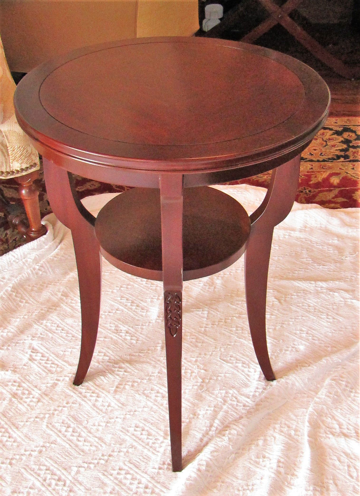 Transitional Glass Topped Round Cherrywood Side Table Chairish