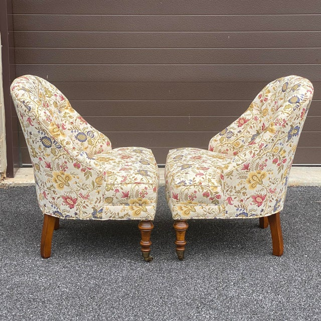 Tufted Floral Slipper Chairs - a Pair For Sale - Image 4 of 13