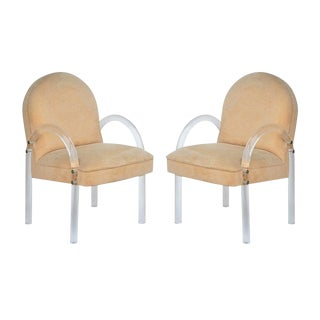 Pair of Comfortable 1970's Lucite Armchairs by Pace Collection For Sale