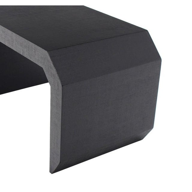 Mid-Century Modern Grass Cloth C Shape Coffee Table For Sale - Image 4 of 10