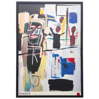 """Jean Michel Basquiat Rare Vintage 1999 Collector's Lithograph Print Large Framed Italian Exhibition Poster """" Peel Quickly """" 1984 For Sale"""