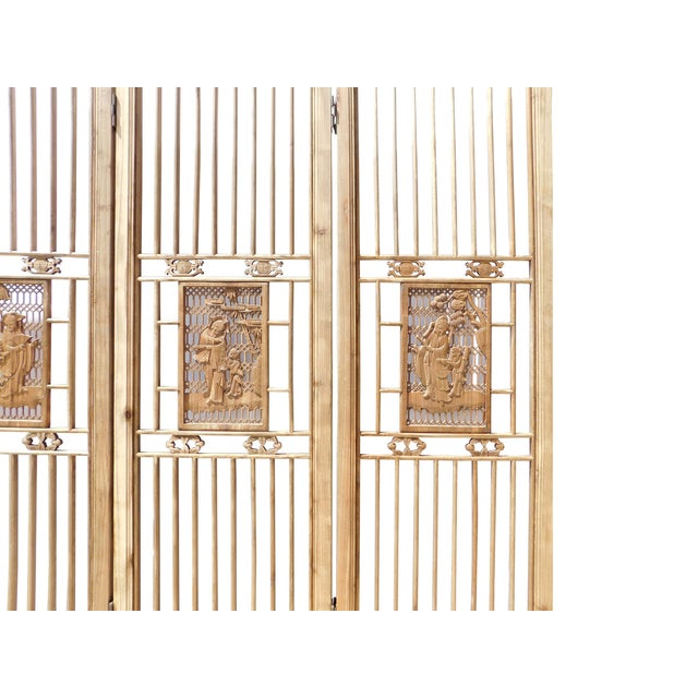 Asian Chinese Carved Wood Panel Screen For Sale - Image 3 of 6