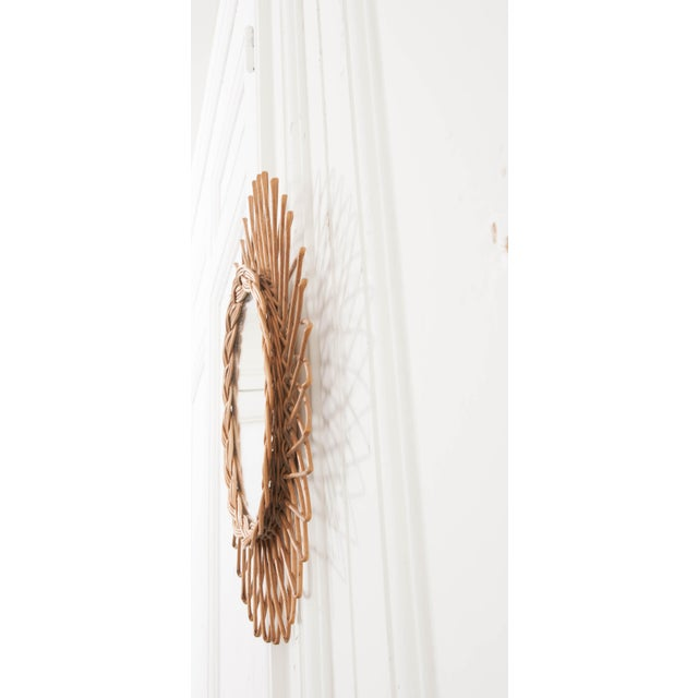 1960s English Vintage Rattan Sunburst Mirror For Sale - Image 5 of 9