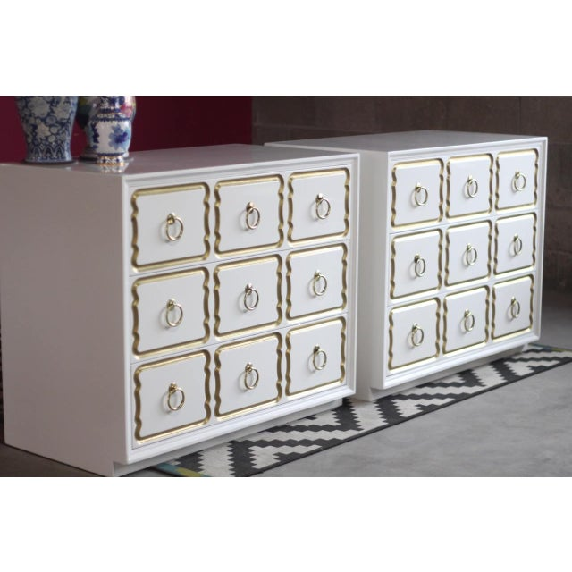 Dorothy Draper Espana Chests Lacquered in Creamy White - a Pair For Sale - Image 10 of 11