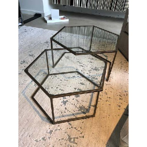 Glass Contemporary Nesting Cocktail Tables - A Pair For Sale - Image 7 of 7