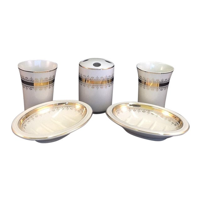 Vintage Japanese Porcelain Bath Set - 5 Pieces - Image 1 of 7