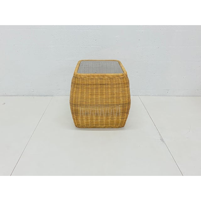 Mid-Century Modern Mid-Century Modern Hand Made Sculptural Wicker Rattan Side Tables - a Pair For Sale - Image 3 of 13