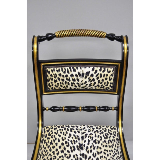 Black and Gold Regency Style Paw Feet Dining Chairs - Set of 6 For Sale - Image 4 of 12