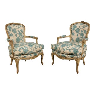 Pair of 1940's Louis XV Style Fauteuil Armchairs For Sale