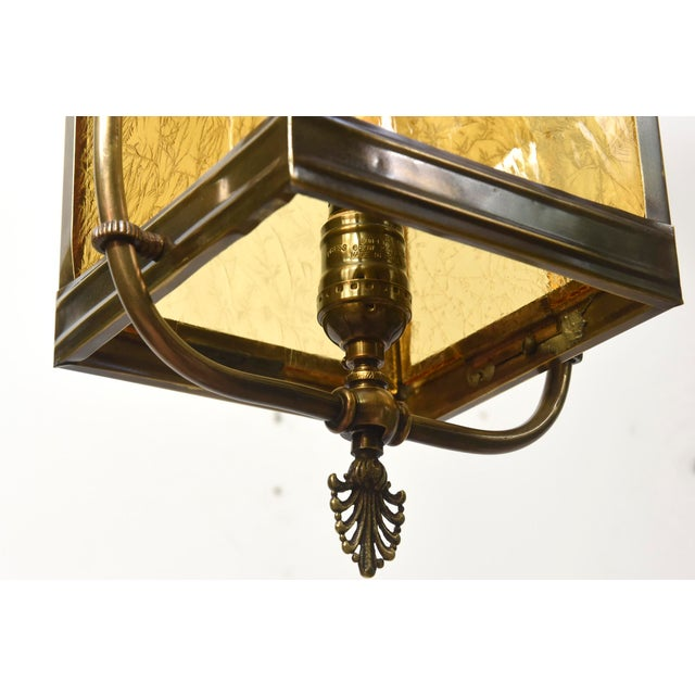 Mid 19th Century Victorian Harp Lantern with Amber Glass For Sale - Image 5 of 11