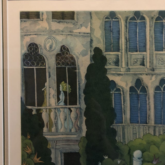 Pencil Thomas McKnight Framed Color Etching Venetian Idyll 99/100 Pencil Signed 1981 For Sale - Image 7 of 13