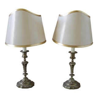 Brass Candlestick Lamps With Parchment Shades - a Pair
