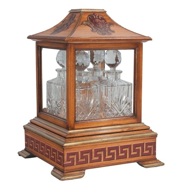 Early 20th Century Georgian Style Walnut Tantalus Set - Set of 4 For Sale - Image 6 of 6