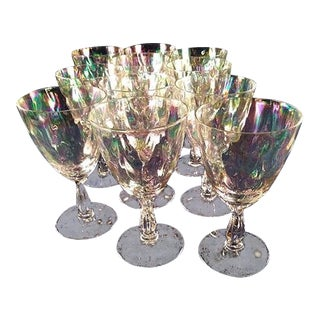 Fostoria Iridescent Shell Pearl Crystal Claret Wine Glasses - Set of 11 For Sale