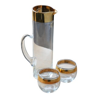 Dorothy Thorpe 18k Cocktail Pitcher & Glasses - Set of 3