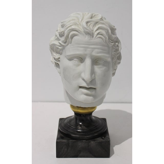 Evocative Mid-Century Modern Roman Head of Male in White Porcelain on Faux Malachite Stand from a Palm Beach estate....