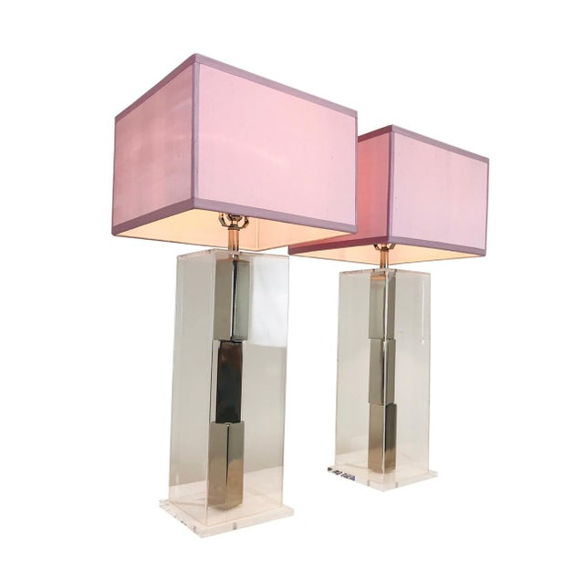 Pair of Lucite and Chrome Table Lamps by Laurel With Silk Shades For Sale - Image 13 of 13