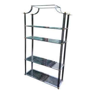 Chrome and Brass Hollywood Regency Etagere For Sale