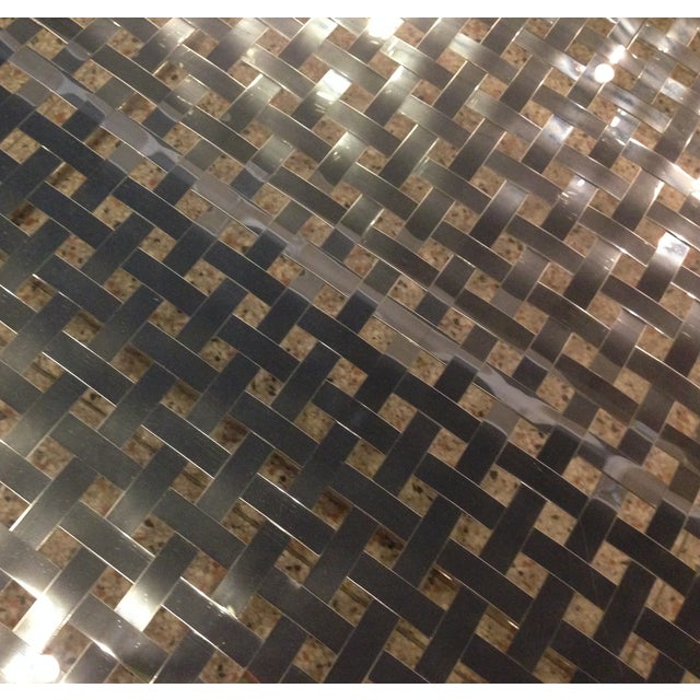 Modern Stainless Steel Lattice Top Coffee Table - Image 5 of 5