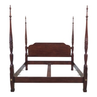 1990s Traditional Henredon King Size Mahogany Rice Carved Poster Bedframe For Sale
