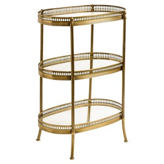 French Petite Brass Three Tier Gallery Side Table Manner of Maison Jansen