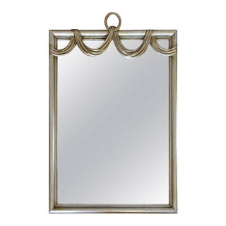 Dorothy Draper Style Carved Silver Swag Wall Mirror For Sale