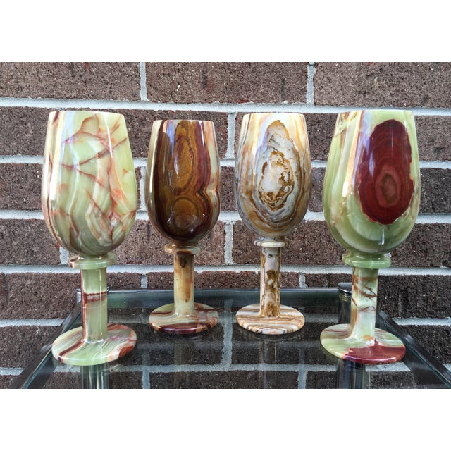 Vintage Green Onyx Goblets - Set of 4 - Image 2 of 8