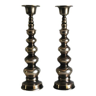 1960s Silver Plated Brass Candle Holders - A Pair