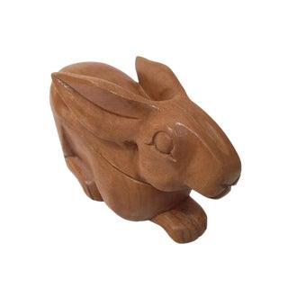 Vintage Bunny Rabbit Hand Carved Wood Trinket Box For Sale